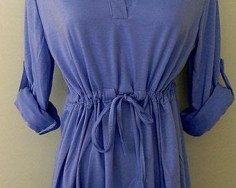 Blue V neck 1970's 'Style' Dress.
