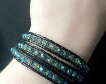Green Glass Beads Leather Wrap Bracelet