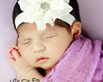 White flower headband with rhinestone center, newborn headband, photo prop, toddler headband, christening headband