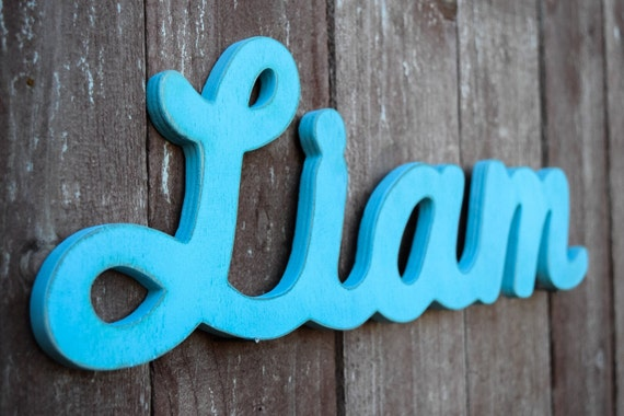 Liam Baby Name Wood Sign Shabby Chic Nursery By
