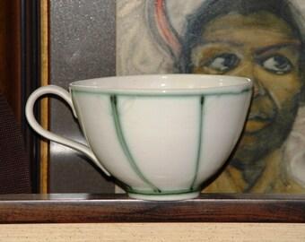 Handmade Stoneware Pottery Mug, Extra Large Mug, Soup Mug, Pottery Coffee Cup, Wheel Thrown Ceramic Mug, Delicate Mug in White and Green