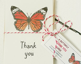 butterfly thank you cards. pack of four thank you cards. Monarch butterfly card. Originally hand painted card