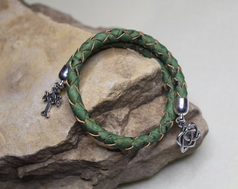 Celtic Wrap bracelet, Braided Cork  Wrap Bracelet. Green Braided Cork Bracelet