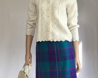 Vintage 80's Purple Plaid Skirt - Pink Teal Green Plaid Rockabilly Skirt - Retro 1980s High Waisted Skirt - Wool Skirt - Molly Ringwald Andy