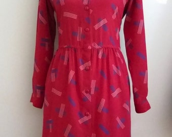 Mod dress, L, atomic dress, graphic print dress, secretary dress, red shirt dress, red 70's dress, Patriotic dress