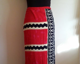 Batik skirt, M, batik wrap skirt, summer skirt, patriotic skirt, graphic skirt, abstract skirt, red skirt