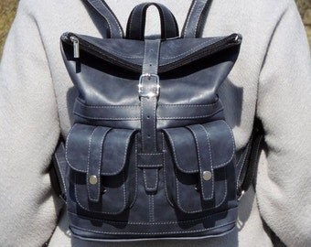 "Blue-gray leather backpack ""Verdes"""