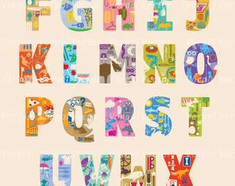 ABC Nursery Print, Alphabet Wall Art, Letters, Nursery Decor, Giclee Art Print