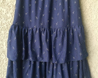 Navy blue ruffle skirt