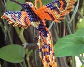HUMMINGBIRD BEADED 3D BIRD Ornament Seed Beads Glass Miyuki Czech (Orange / Garnet)