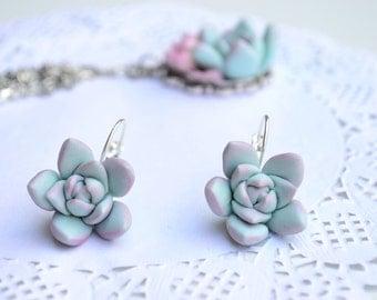 Mint succulent earrings jewelry. Planter earrings jewelry. Rustic earrings jewelr. Wedding bridal bridesmaid succulent. Christmas earrings