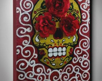 18x24 Original Dia De Los Muertos Handmade Painting, Sugar Skull on Canvas