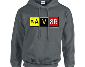 AV8R (Aviator) Taxiway Sign Hoodie Sweatshirt! Aviation Apparel for Pilots and Enthusiasts!