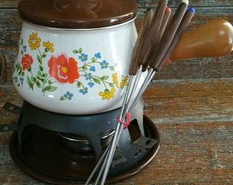 Vintage Enamel Fondue Pot with Fondue Forks - Levcoware Japan, Enamel Cheese Chocolate Fondue Set, Retro Fondue Pot
