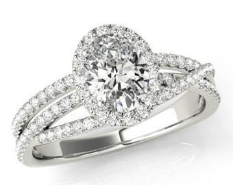 2.25 Carat Oval Cut Forever One Moissanite & Diamond Halo Engagement Ring 14k White Gold - Multi Row Diamond Ring - Modern - For Women