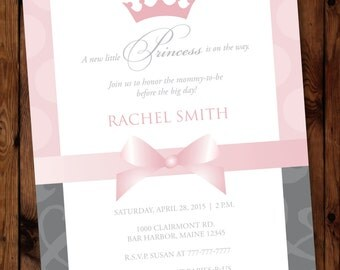 Princess Baby Shower Invitation, Pink Princess Baby Shower, Little Princess Baby Shower, Baby Princess Invite, Fairytale Invite