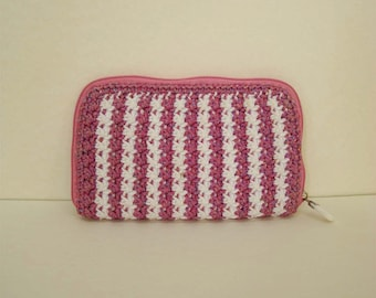 Pastel Pink and White Crochet Wallet Pastel Pink Wallet Pink Handle bag  Pink Purse Cute Pink Wallet Pink Handbag Pink Luxury Handbags (N64)