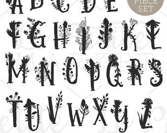 Hand Drawn Floral Letters Alphabet Clip Art, Printable Nursery Art, Printable Monogram Letters, Floral Letter Clipart, Letters and Flowers