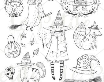 Cute Witch ClipArt Set, Hand Drawn Halloween Clipart Set, Hand Drawn Witches Halloween Illustrations, Halloween Witch Clip Art, Fall Clipart