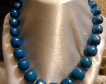 Vintage Blue Lucite Bead Bold Necklace