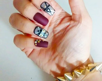 Accented Mauve and Sheer Black Press On Nails - False Nails - Fake Nails Made to Order - Quality with Gift Wrap