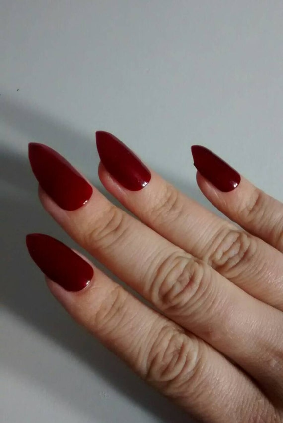 Burgundy Matte Stiletto Nails With Glossy Tips: Burgundy Red Matte Or Glossy Stiletto Nails Wine Maroon