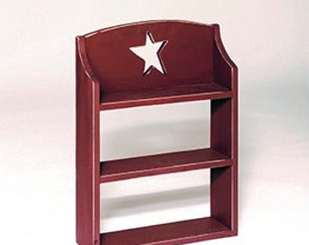 Primitive Rustic Decorative 3 Shelf Unit with Rustic Star Cut Out - Choice of Paint or Stain - Handmade - Amish Made in the USA