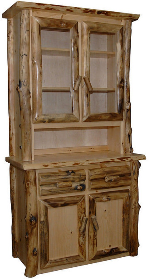 rustic aspen log hutch with 2 doors buffet china cabinet. Black Bedroom Furniture Sets. Home Design Ideas