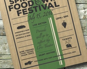 Food & Wine Tasting ~ Wine Fest ~ Festival Fundraiser ~ 5x7 Invite ~ 8.5x11 Flyer ~ 11x14 Poster ~ 300 dpi Digital Invitation