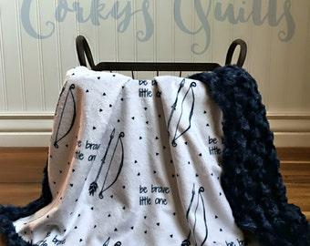 Be Brave Little One - Designer Minky Baby Blanket - Navy
