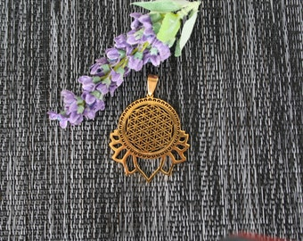 Lotus Flower of Life Pendant, Flower of Life Necklace, Gold Necklace, Sacred Geometry Necklace, Gold Flower Of Life Pendant