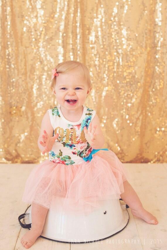 e Tutu Dress Glitter First Birthday Baby Girl