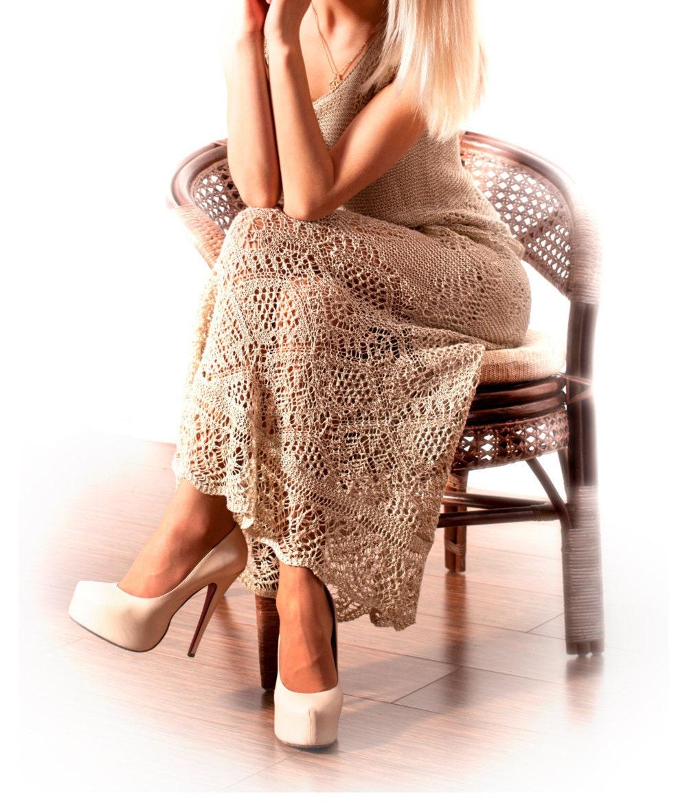 Knitting Summer Dress : Lace long dress hand knitted summer maxi