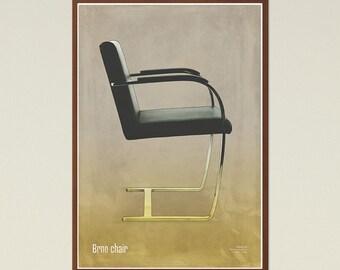 Brno chair - Mid Century Modern, Scandinavian Modern, chair poster, printable art, furniture art, modern art, instant download