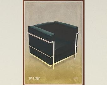 LC2 chair - Mid Century Modern, Scandinavian Modern, chair poster, printable art, furniture art, modern art, instant download