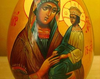 "Russian Wooden Icon Egg ""The Mother of God Feodorovskaj""."