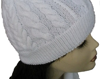 Beanie Hat, Cowl Scarf and Mittens Set of White Perfect Gift Idea