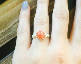 Women's Tangerine Quartzite Bead Wire Wrapped Ring // Silver