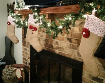 Burlap Christmas Stockings: His or Hers Stockings