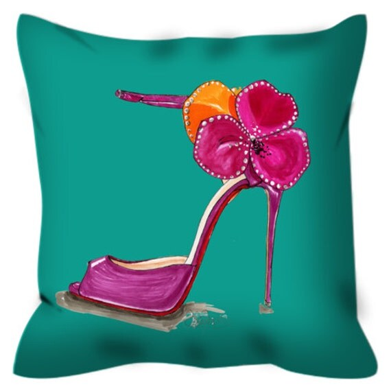 Items similar to Pink Satin Rose Sandal Throw Pillow on Etsy
