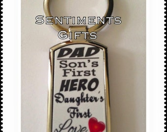 Dad, Sons First Hero, Daughters First Love Keyring - New, Boxed