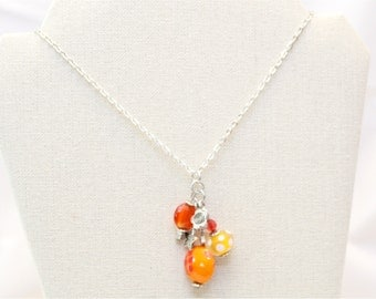 Bead Charm Necklace - Long Necklace - Orange & Yellow Charm Necklace