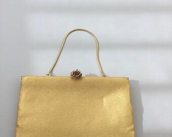Gold ingber Handbag / Vintage Ingber Purse / 1950's Evening Bag with Rose Clasp
