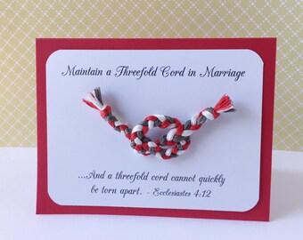 JW Threefold Cord Marriage Scripture Handmade Card