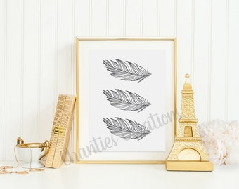 Three Grey Watercolor Feathers Wall Art Printable 8x10
