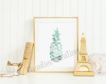 Green Watercolor Pineapple Printable Wall Art 8x10
