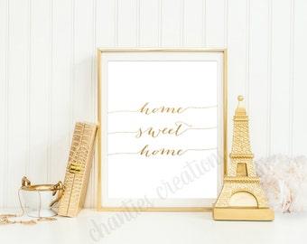 Home Sweet Home Gold Foil Printable | Wall Art Home Sweet Home | Printable Home Sweet Home |First Home Gift | Housewarming Gift