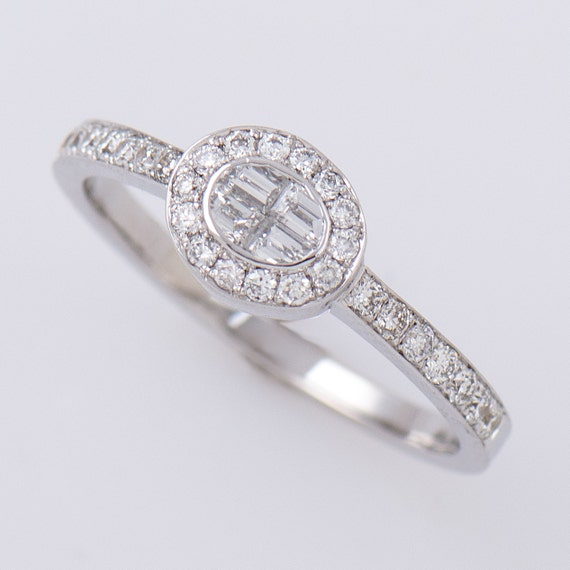 Items similar to Oval Engagement Ring 18K White Gold Ring Unique Art Deco R