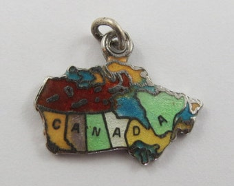Map of Canada With Colorful Enamel Sterling Silver Vintage Charm For Bracelet