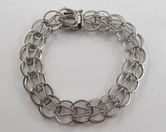 """7 1/4""""Vintage Sterling Silver Charm Bracelet Without Charms"""
